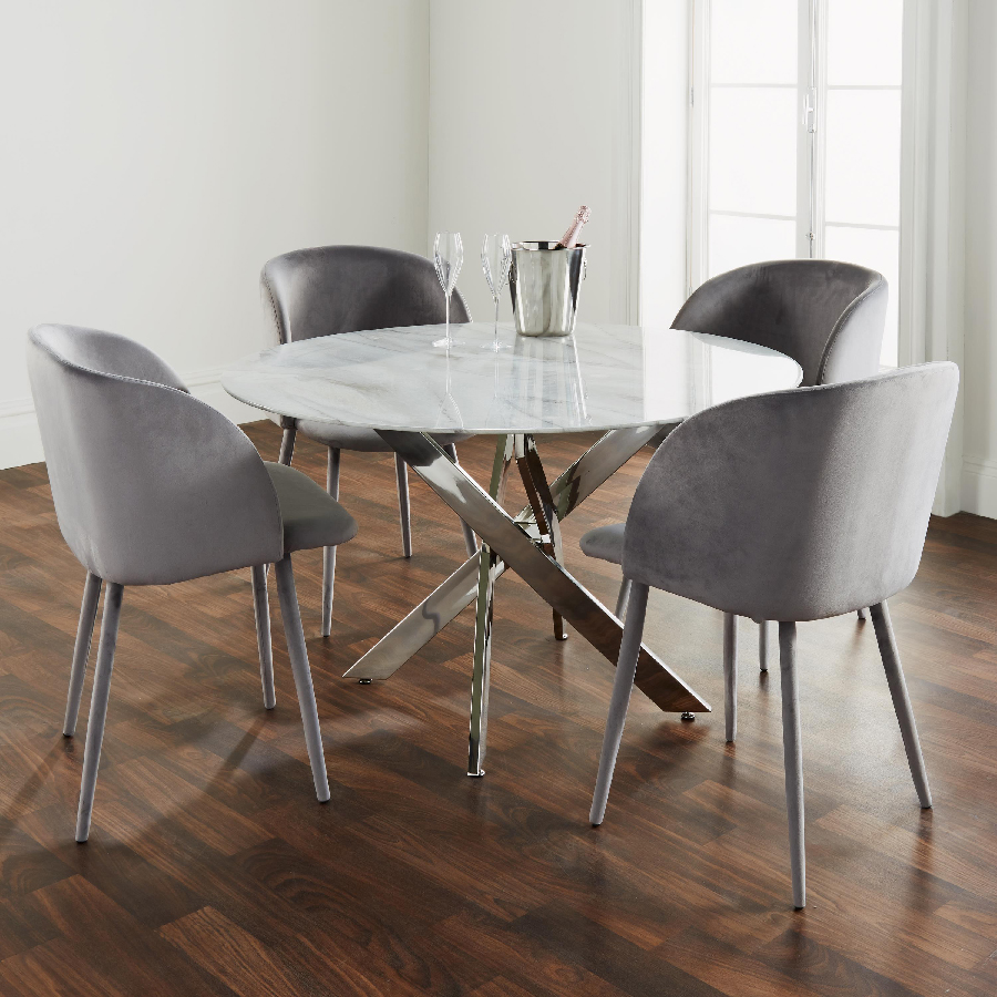 Oden Marble Glass 1.2m Dining Table