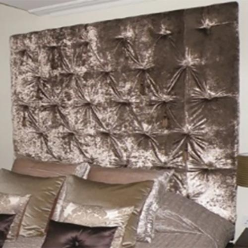 Bespoke Taj Crushed Velvet Buttoned or Diamante Headboard (Various Options)