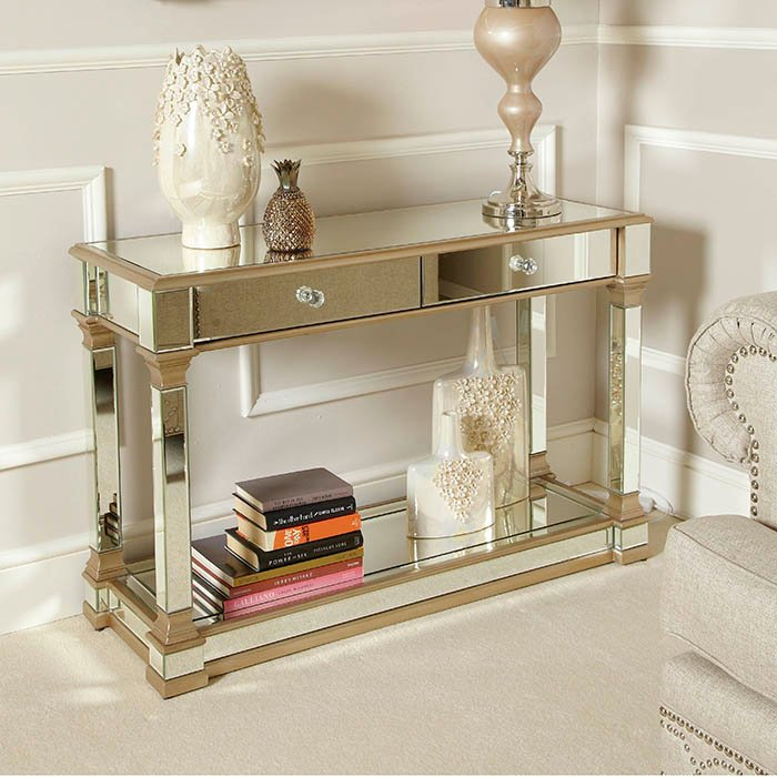 Andreas Champagne Gold Trim Mirrored 2 Drawer Console Table