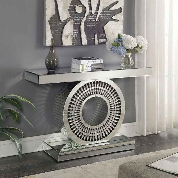 Crawford Mirrored Crystal Console Table