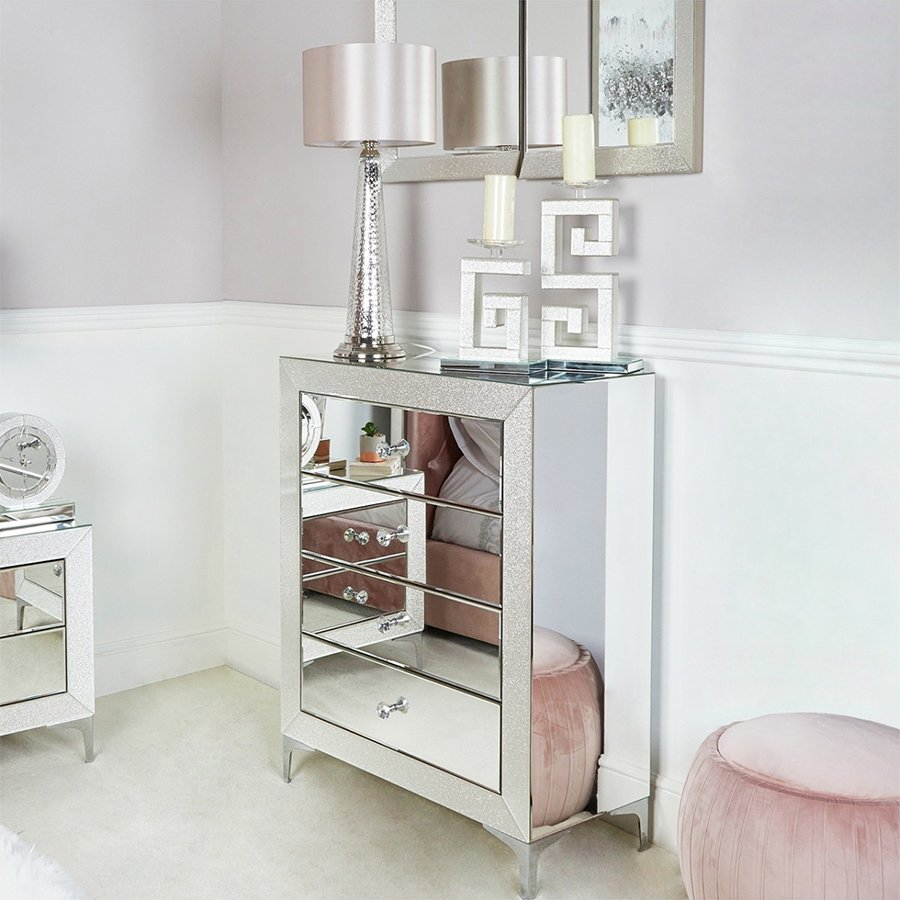 Glass Mirrored Chest of Drawers