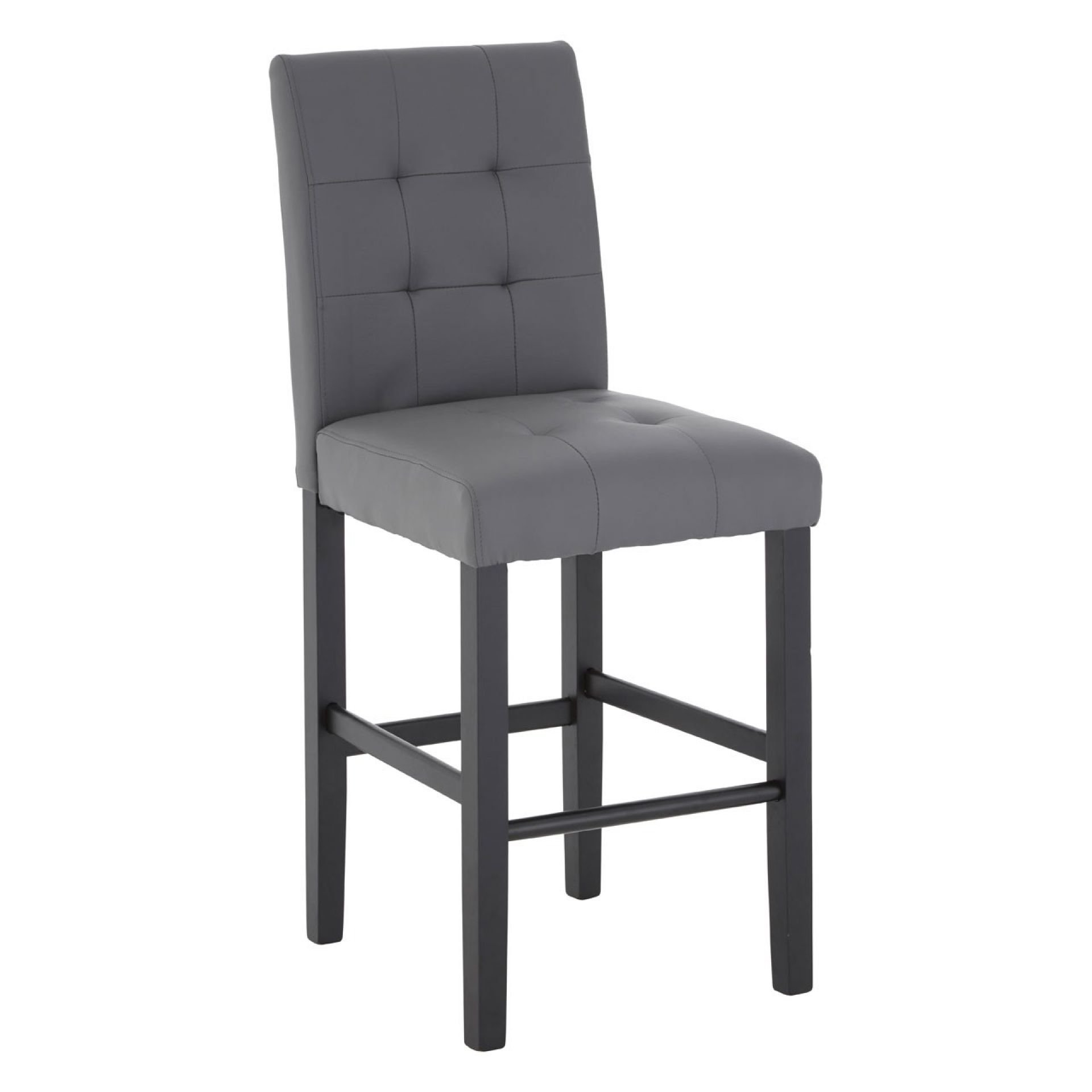 Regency Park Grey Leather Buttoned Bar Chair