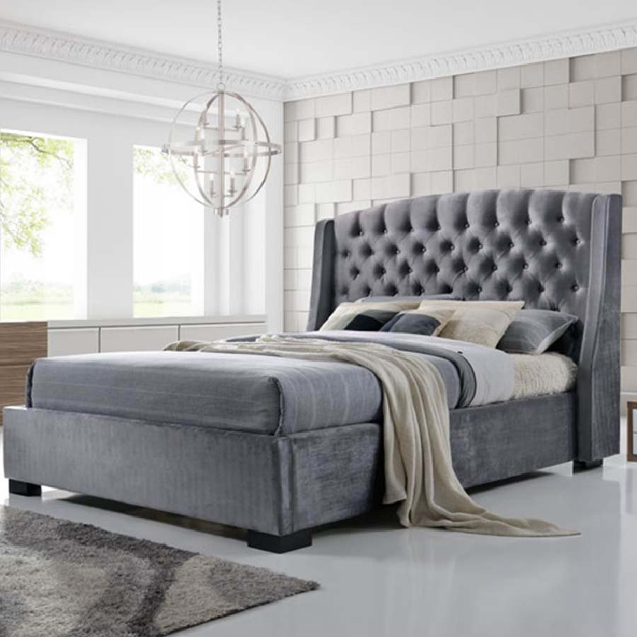 Brando 4ft6 Double Grey Upholstered Buttoned Winged Bed