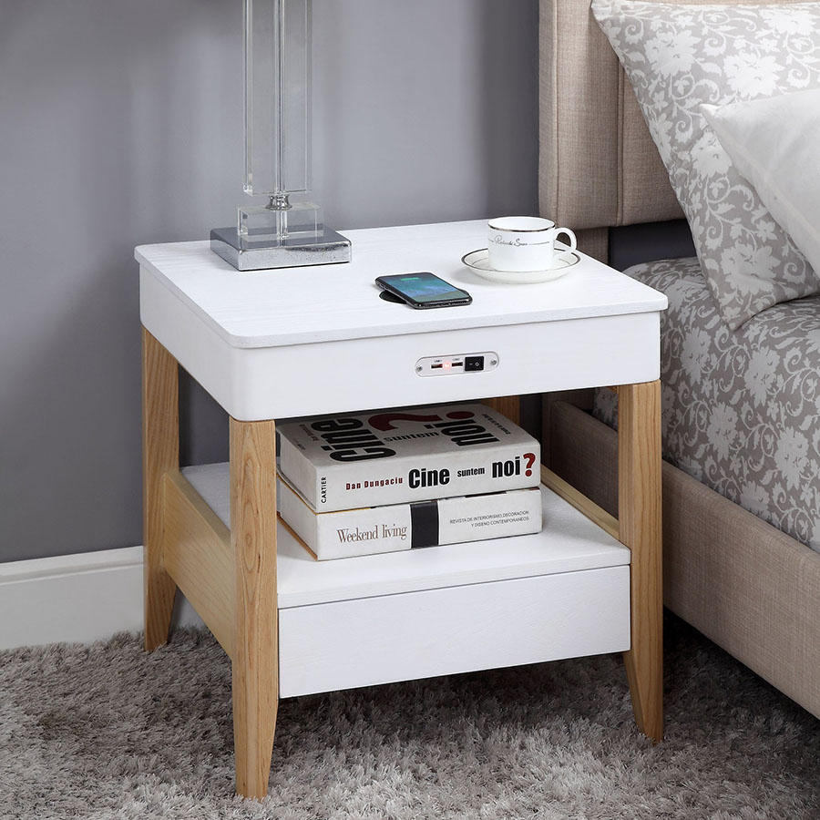 San Francisco Ash Wood Smart Bedside Table With SPEAKERS & Wireless Charger