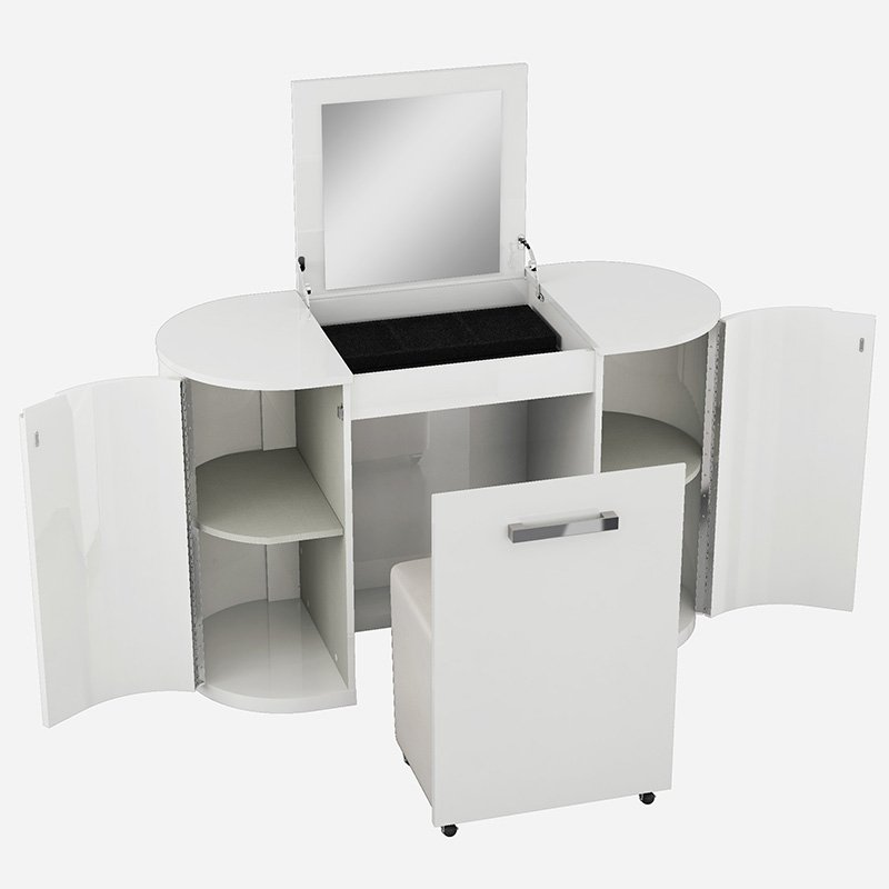 Logan White High Gloss Dressing Table With Flip-up Mirror & Chair