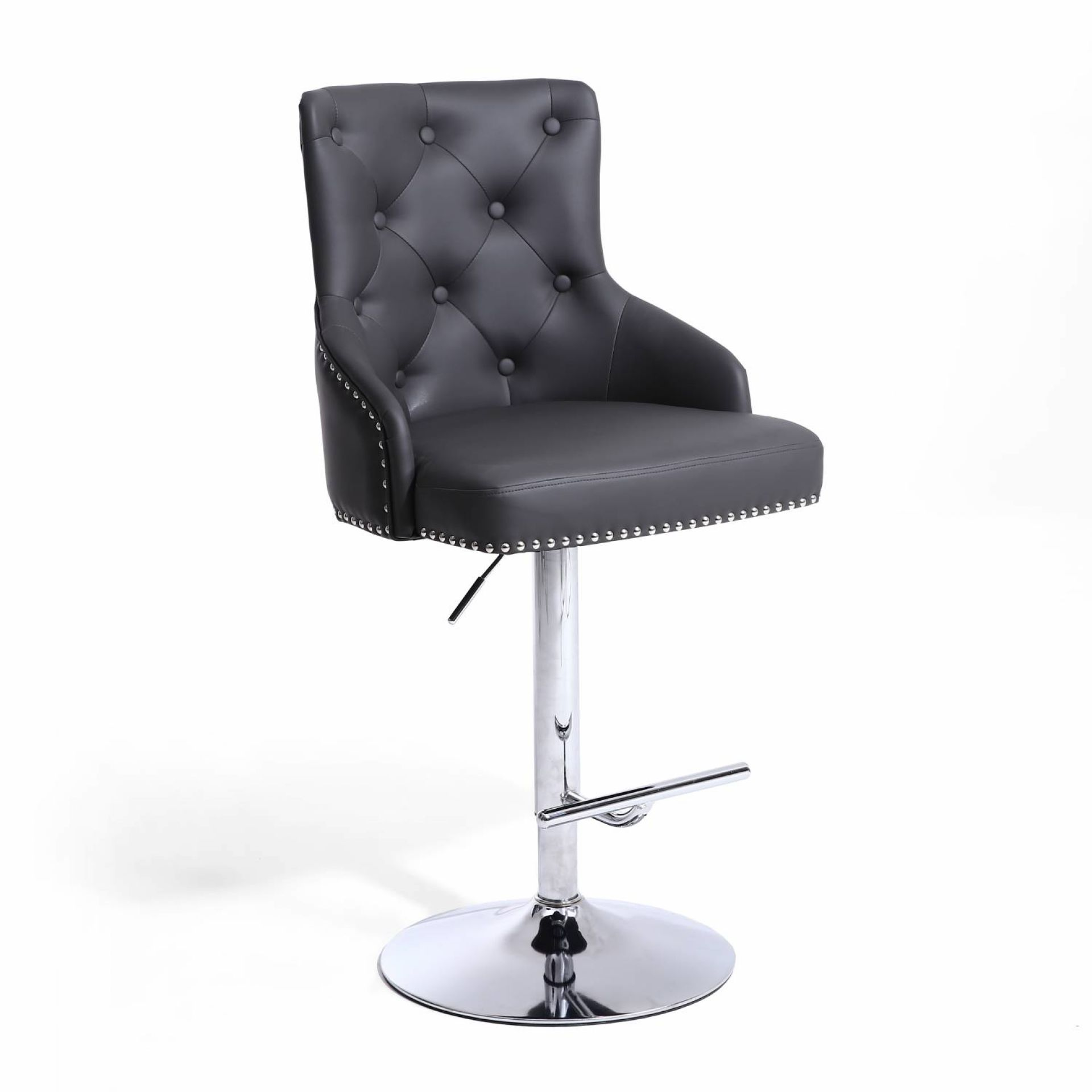 Rockley Graphite Grey Faux Leather & Chrome Buttoned Bar Stool