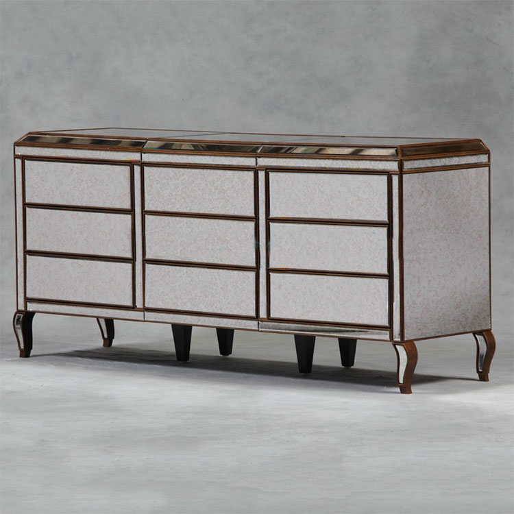 Antiqued Glass & Gold 9 Drawer Sideboard
