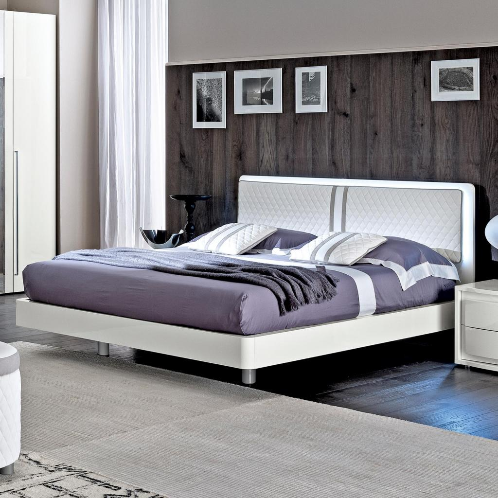 Bianca Rombi White High Gloss & Leather 5ft Bed Frame (Storage Option)