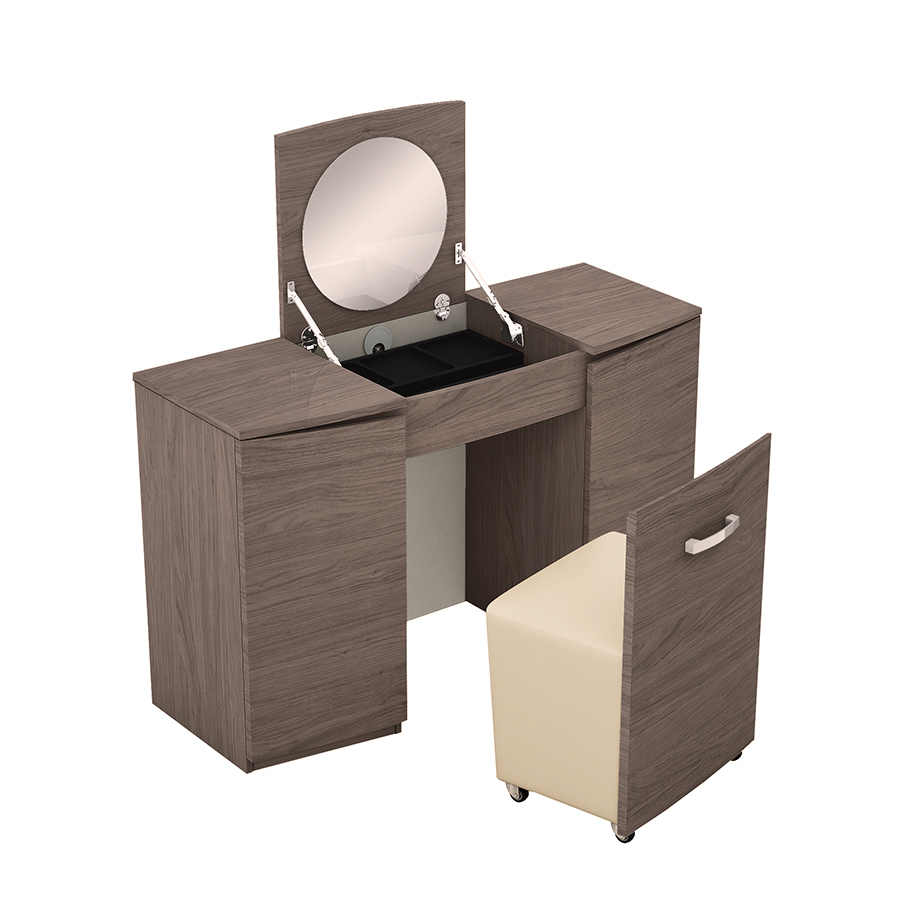 Amelle Chestnut Brown High Gloss Vanity Unit With Stool & Flip-up Mirror