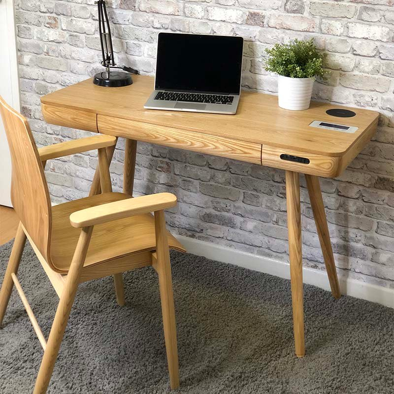 San Francisco Ash Wood Smart Desk With SPEAKERS & Wireless Charger