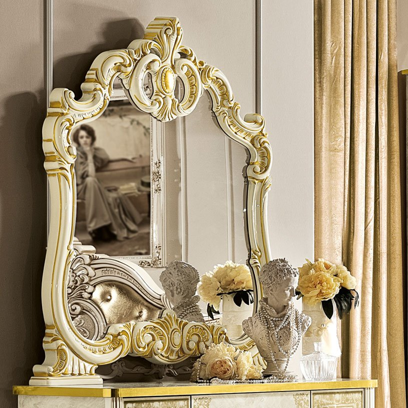Varazze Ivory High Gloss & Gold Leaf Small Ornate Mantle Mirror
