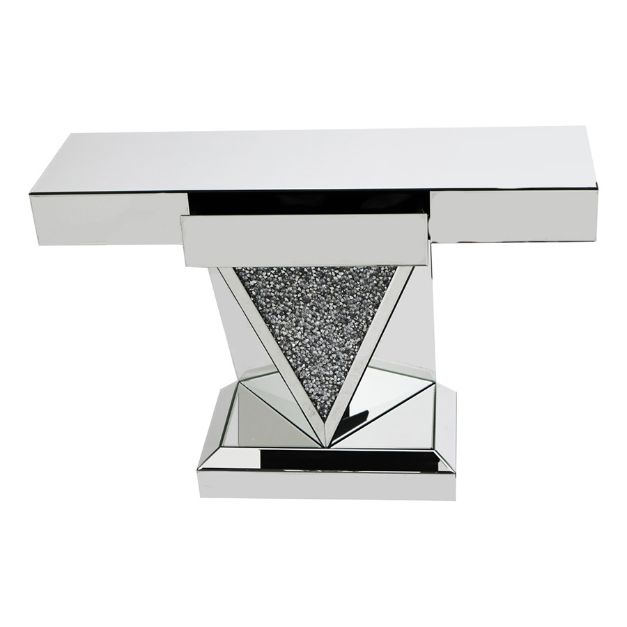 Rhombus Crystal Mirrored 1 Drawer Console Table