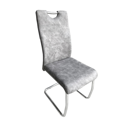 Talia Handle Back Suede Effect Light Grey Dining Chair