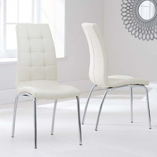 California Cream Faux Leather Dining Chair