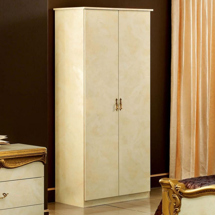 Bellissima Black High Gloss & Gold or Silver 2dr Wardrobe