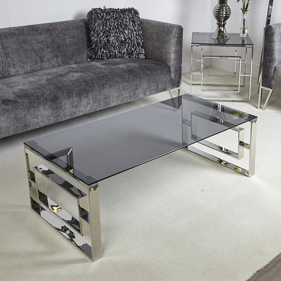 Apex Stainless Steel & Smoked Glass 1.2m Coffee Table