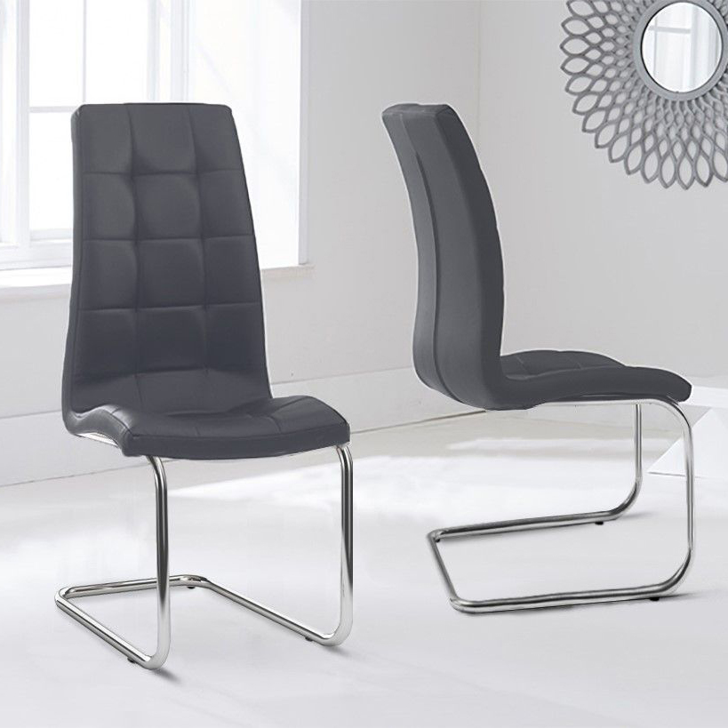 Lucy Grey Faux Leather Floating Dining Chair