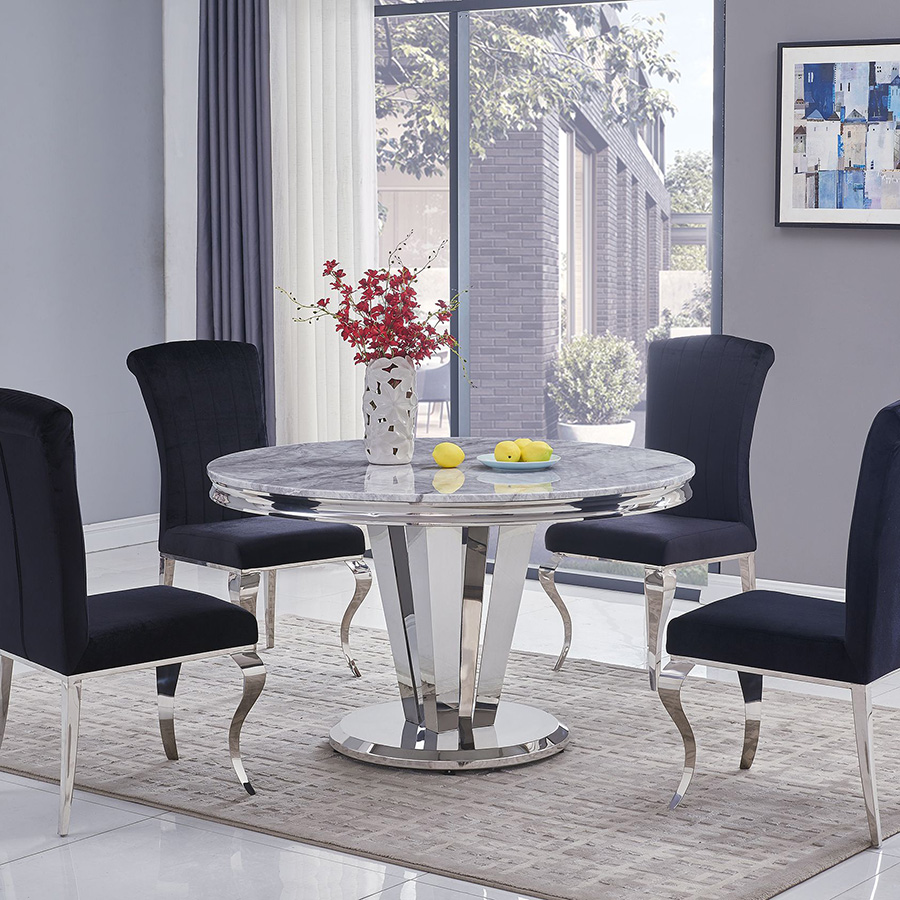 Riccardo Liyana Grey Marble & Chrome 1.3m Round 5 Piece Dining Set - Black Chairs