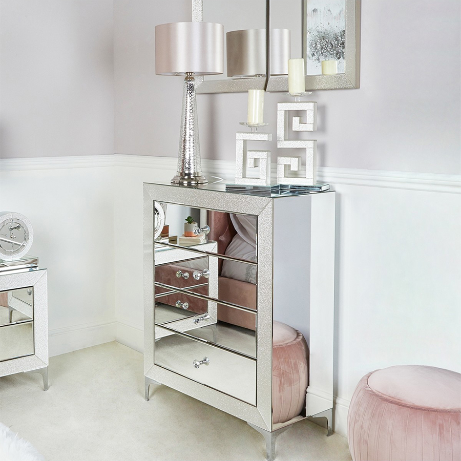 Amy Mirrored Champagne Sparkle 4 Drawer Chest of Drawers