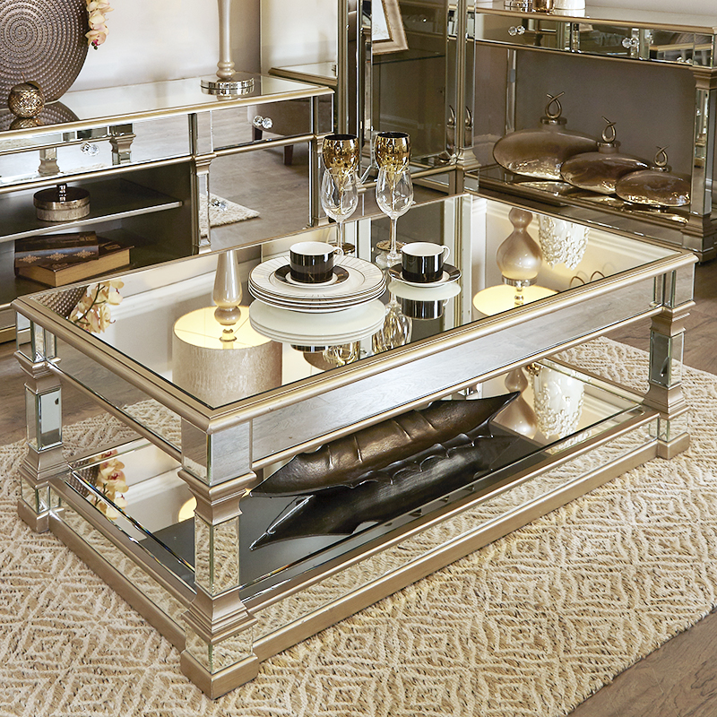 Andreas Champagne Gold Trim Mirrored Coffee Table