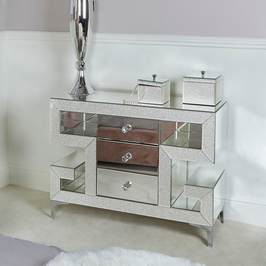 Amy Mirrored Champagne Sparkle 3 Drawer Chest of Drawers