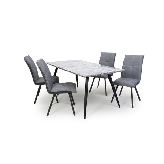 Avril Ardel Grey Marble 5 Piece Dining Table Set - Light Grey Chairs