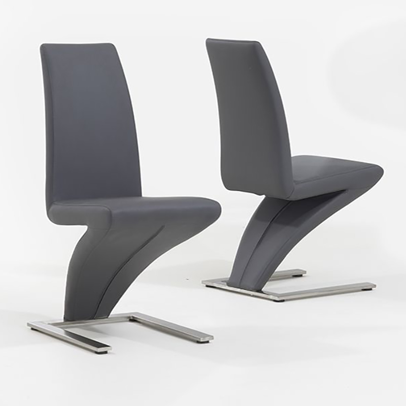 Hereford Grey Faux Leather & Chrome Z Chair