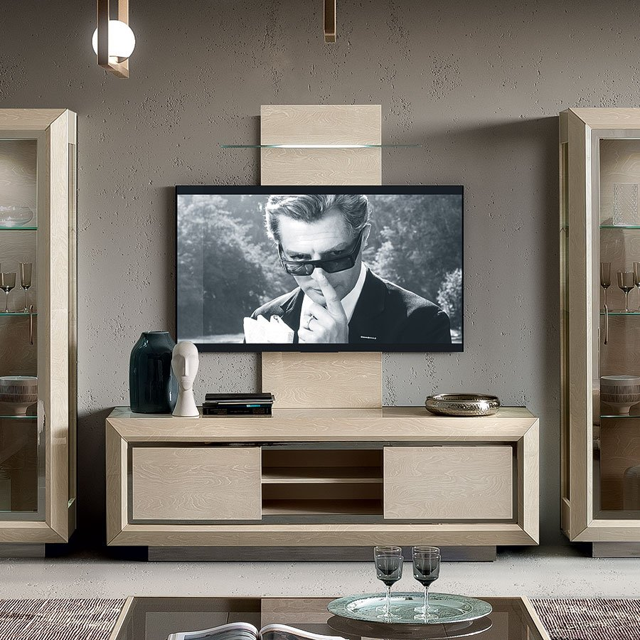 Elisio Ivory Birch 2 Door TV Base Unit (with LED Wall Panel)