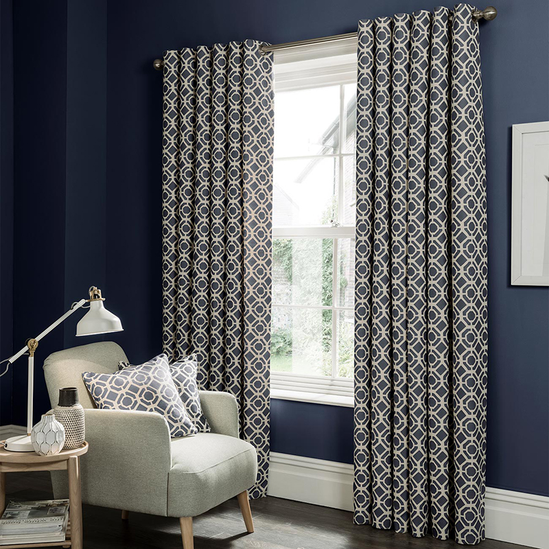 Castello Indigo Geometric Readymade Eyelet Curtain