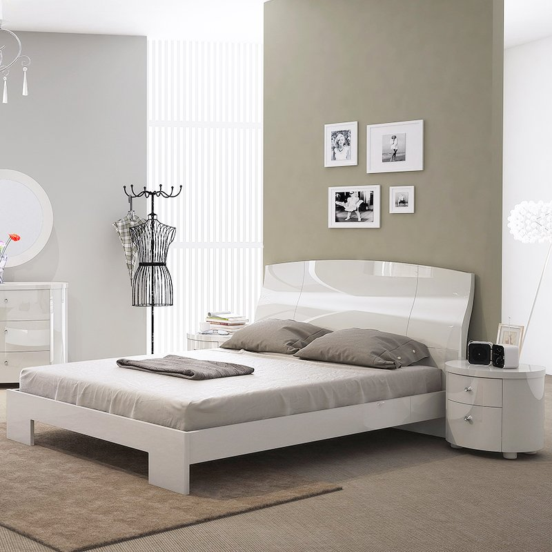 Voyage White High Gloss Double Bed