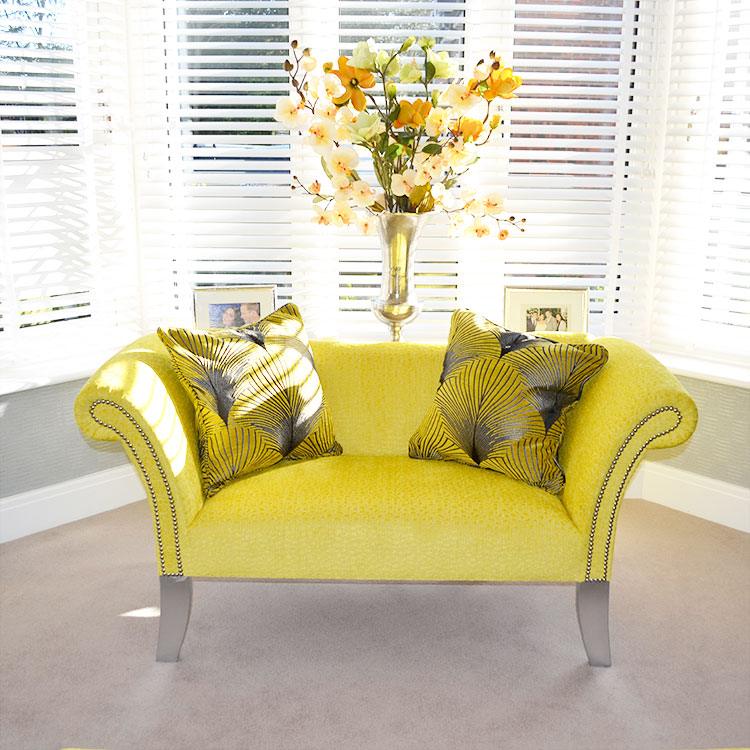 Bespoke Puro Buttercup Fabric Studded Pew Chair