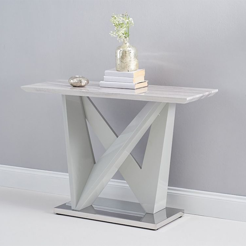 Rosario Light Grey Marble & High Gloss Console Table
