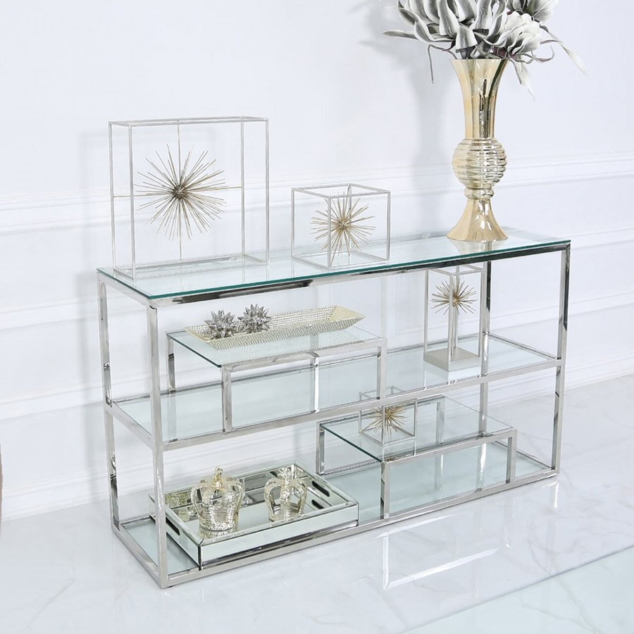 Harley Glass & Silver Trim Tiered Console Table