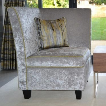 Bespoke Chanelle Silver Crushed Velvet End Chair With Piping