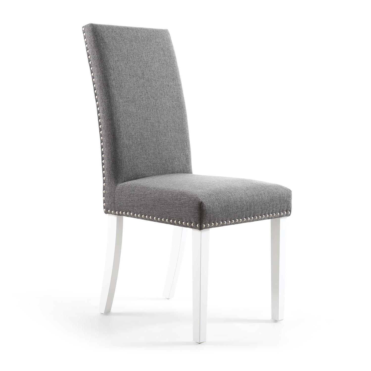 Reed Steel Grey Linen Studded Dining Chair (White Legs)