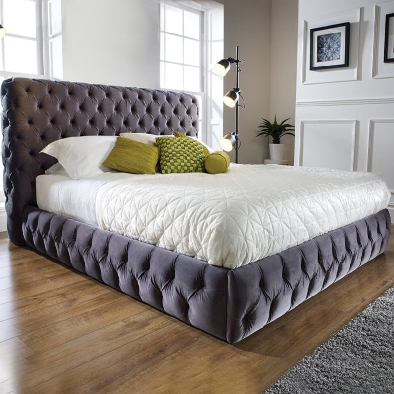Vogue Grey Upholstered Fabric Bed