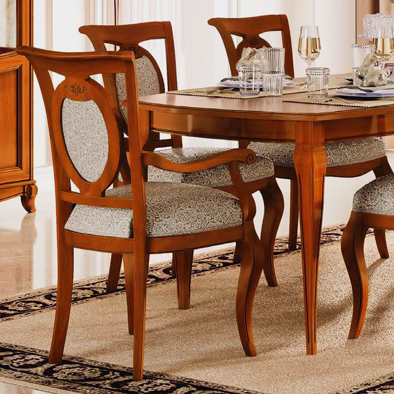 Fabrina Walnut Upholstered Carver Dining Chair