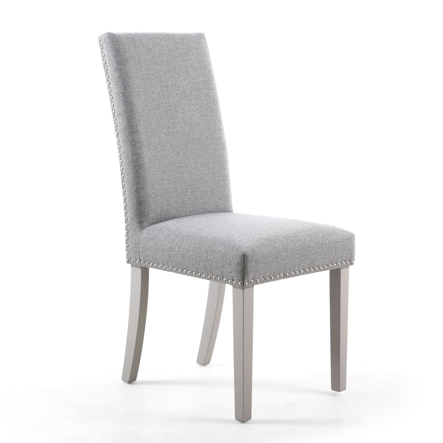 Reed Silver Grey Linen Studded Dining Chair (Grey Legs)