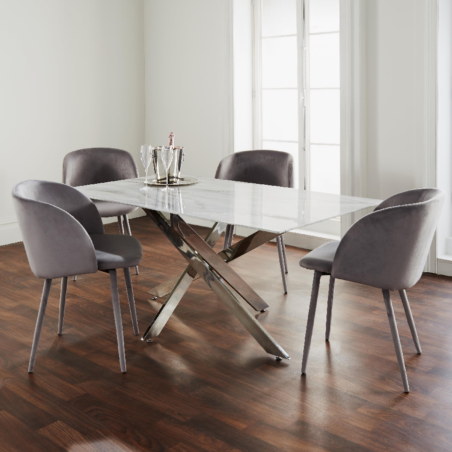 Oden Marble Glass Silver 1.6m Rectangular Dining Table