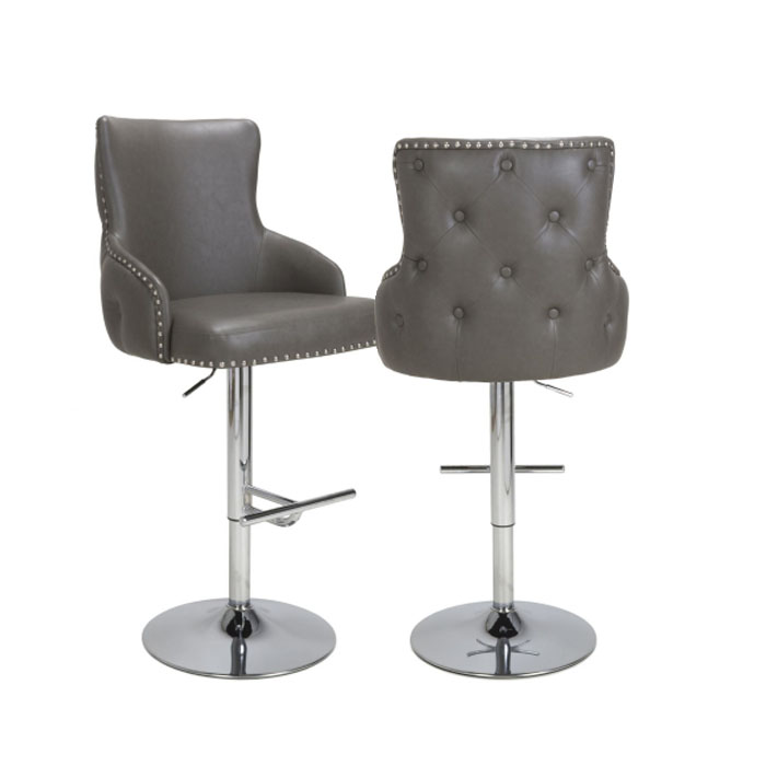 Castro Grey Leather & Chrome Buttoned Back Bar Chair