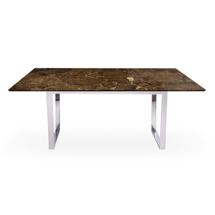 Oriental Brown Marble 1.6m Dining Table - Jasmine Polished Chrome Base