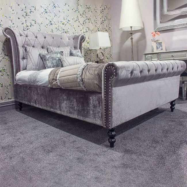 Ariella Silver Velvet Buttoned Sleigh Bed (4ft6 or 5ft)