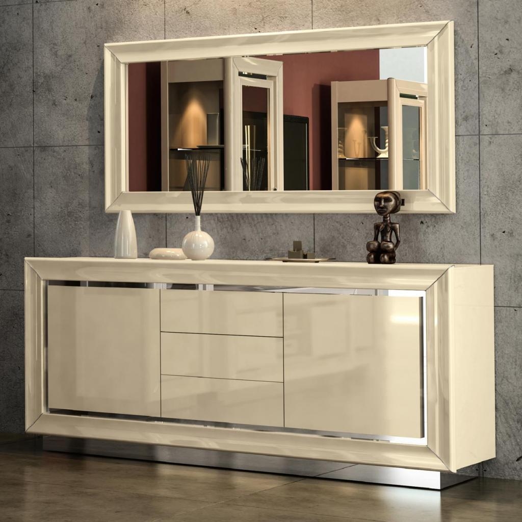 Minton Ivory High Gloss 2 Door Sideboard With 3 Drawers