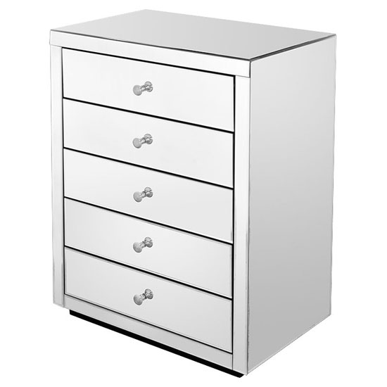 Mirrored Five Drawer Chest of Drawers