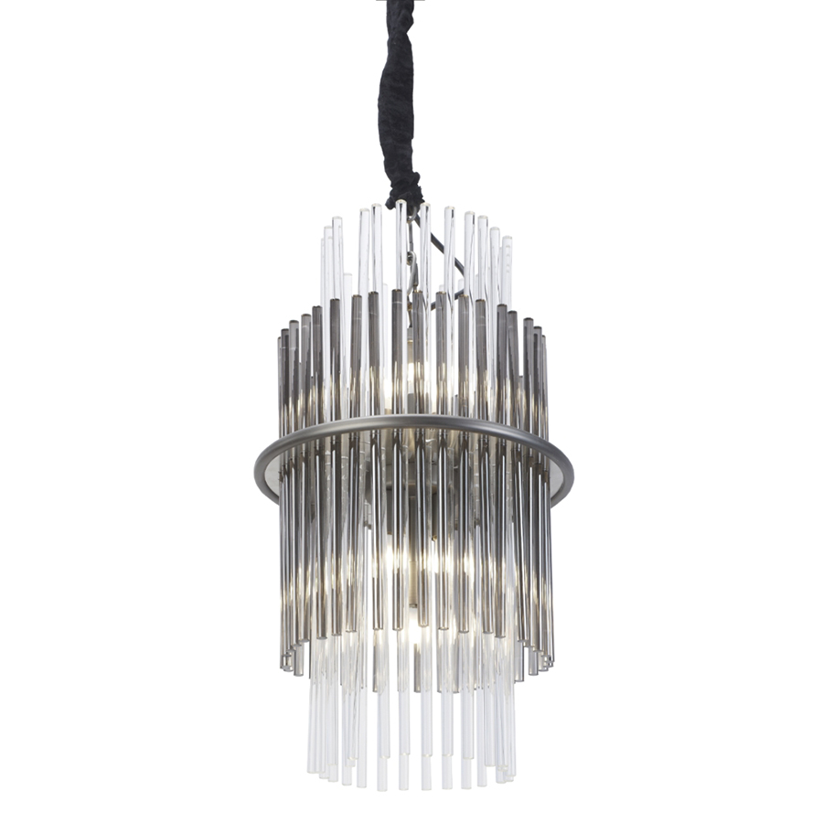 Colm Nickel Clear & Smoke Glass Pendant Light