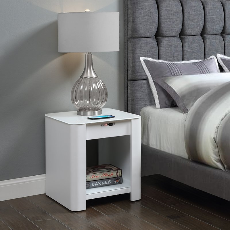 San Francisco White Gloss Smart Bedside Table With Wireless Charger & Light