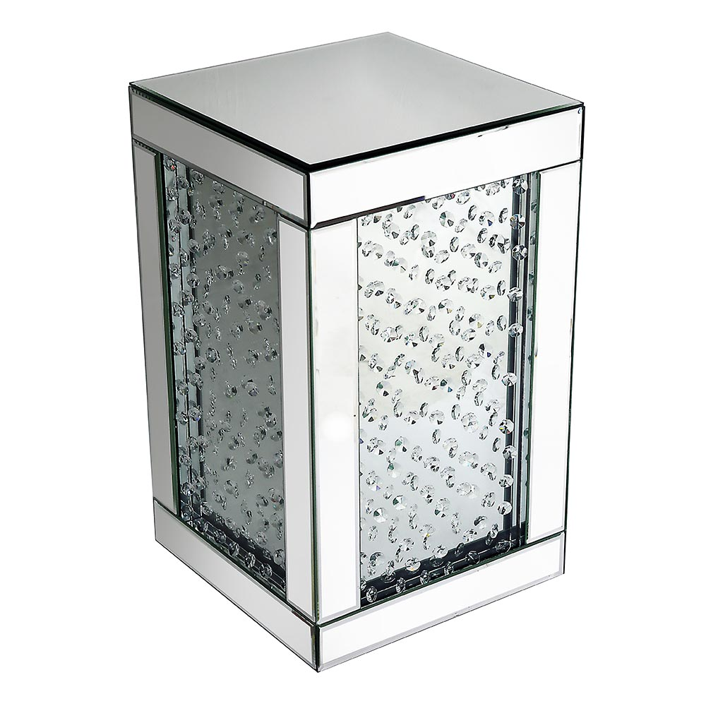 Rhombus Crystal Mirrored Cube Lamp Table