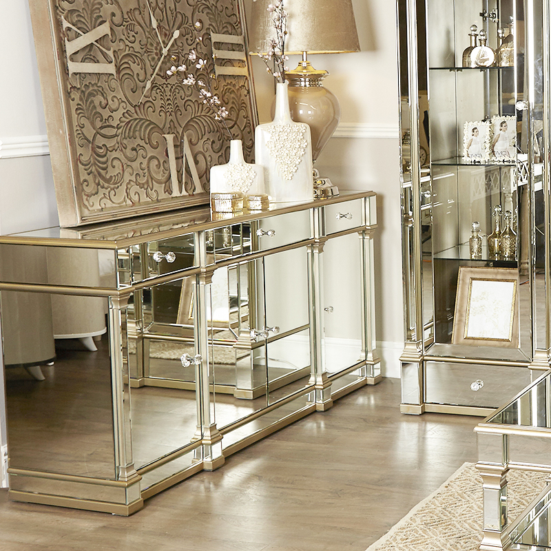 Andreas Champagne Gold Trim Mirrored 4 Door, 3 Drawer Sideboard