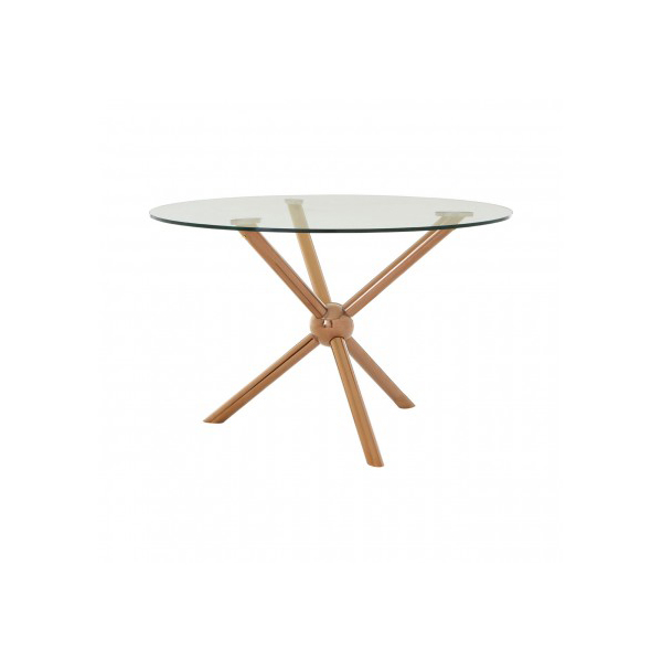 Novo Glass & Rose Gold 1.2m Round Dining Table