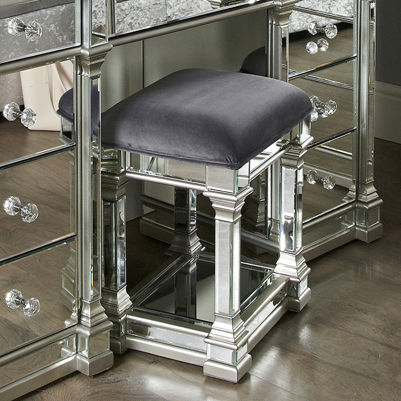 Andreas Silver Trim Mirrored Dressing Table Stool